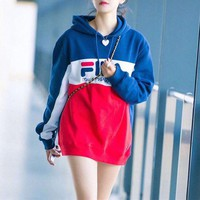 """FILA"" Women Multicolor Letter Print Middle Long Section Long Sleeve Hooded Sweater Sweatshirt Tops"