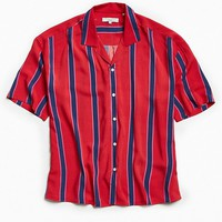 Loom Oversized Retro Stripe Rayon Camp Collar Shirt | Urban Outfitters