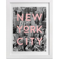 New York Photography, NYC Typography Print, Graphic Black and White Aerial of New York with Pink Type, Contemporary Art