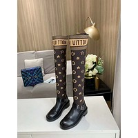 lv louis vuitton trending womens men leather side zip lace up ankle boots shoes high boots 210