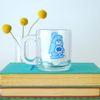 Retro Care Bears Mug Grumpy Bear 1980s Libbey Glass Mug
