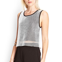 FOREVER 21 Boxy Mesh Overlay Top