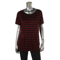 Two by Vince Camuto Womens Striped Short Sleeves Pullover Top