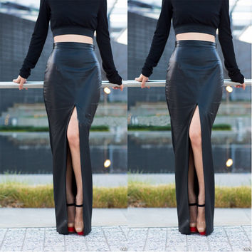 Black High Waisted Maxi Skirt with Front Slit