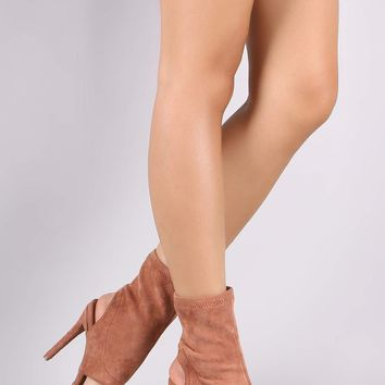 Anne Michelle Suede Pointy Toe Cutout Booties