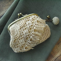 leather coin purse - lace scraps - ecru