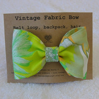 Retro Green & Orange Fabric Hair Bow