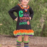 Girls Halloween Dress, Cutest Pumpkin in the Patch, Cute Halloween Dress, Girls Halloween Outfit, Halloween Tutu, Fall Dress, Pumpkin Dress