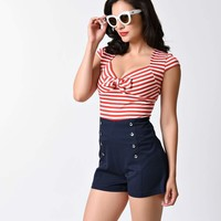 Steady Retro Red & White Sailor Stripe Sweetheart Top