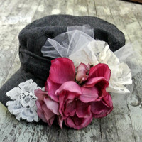 Embellished hat, shabby rose cadet cap, autumn hat, country chic, french country chic, rustic, boho, cottage chic