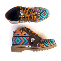 Ethno canvas Ikat blue shoes handmade Rangkayo casual sneakers Preorder colorful women boots