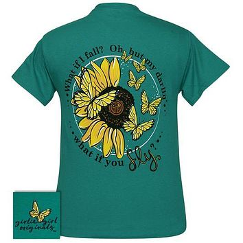 Girlie Girl Originals Preppy What If You Fly Butterfly Sunflower T-Shirt