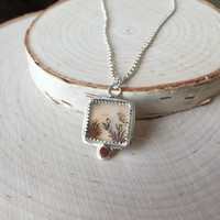 Beautiful, Dendritic Agate with .925 Sterling Silver and 14K Yellow Gold Accent, Silver Rolo Chain, Fern Agate Necklace, Square Bezel, Gift