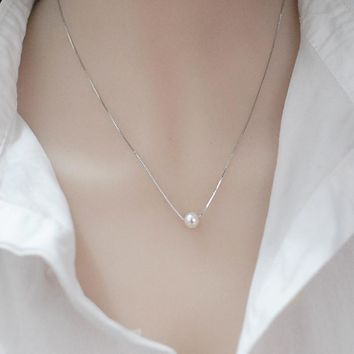 Jewelry New Arrival Shiny Gift Pearls Girl Korean Stylish Simple Design Necklace [10427402708]