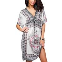 ROPALIA Women Dress Plus size Bohemian white Vintage Floral Print party Dress Sexy hippie boho clothing Milk Silk Sundresses
