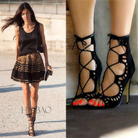 Suede High Heel Accessories Hollow Out Trendy Sandals = 4814664580