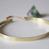 90's Style Very Thin Metal Choker Necklace (Gold Tone Brass)