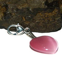 Bag Clip With Hearts, Pink Zipper Pull, Luggage Identifier, Cats Eye Charm