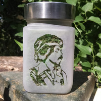 Jimi Hendrix  Etched Glass Stash Jar - Retro Classic Rock - Free UPGRADE to Priority Shipping within the US