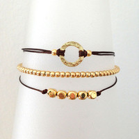Triple Gold and Brown Friendship Bracelet with Adjustable Cord