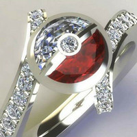 Cubic Zirconia Ring - Bypass Band with Half Moon Bezel Center