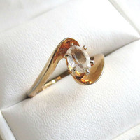 Vintage Clear Crystal Rhinestone Modernist style Ring size 7.5