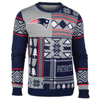 """New England Patriots Official Men's NFL """"Ugly Patches"""" Sweater by Klew"""