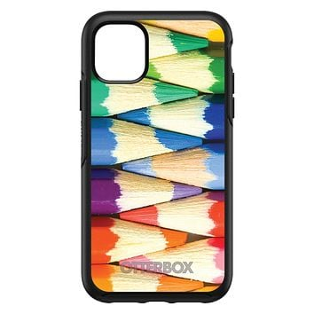 DistinctInk™ OtterBox Symmetry Series Case for Apple iPhone / Samsung Galaxy / Google Pixel - Rainbow Colored Pencils