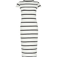 River Island Womens White and black stripe bodycon midi dress