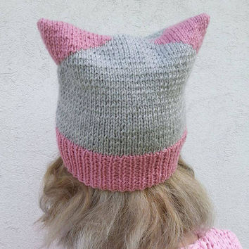 Cat Hat, Knit Hat, Knit Pussy Hat, Uniwersal Hat,  Powerhat, Power hat cat, Gray Cat Hat, Uniwersal cat hat, Hand knit hat , Ready to ship