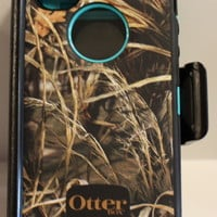 APPLE IPHONE 4 4S OTTERBOX DEFENDER CASE REAL TREE CAMO MAX 4HD BLACK/TEAL
