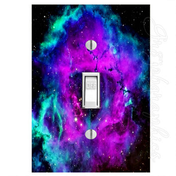 Galaxy Space Light Switch Cover with Decal Nebula Stars Wall Art LS27