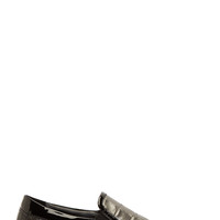 Jimmy Choo Pewter And Black Croc-embossed Grove Slip-on Shoes
