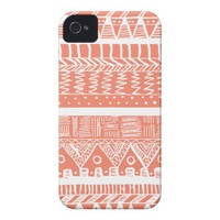 Boho Coral Aztec Case-Mate iPhone 4 Cases from Zazzle.com