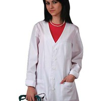 Buy Adar Women 31 Inch Double Princess V-Neck Lab Coat for $20.45