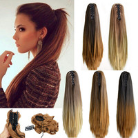 """20"""" Fashion Ombre Long Straight Claw On Ponytail Synthetic Hair Pony Tail Hair Extensions Tress Of False Hair"""