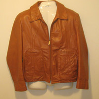 Vintage 1960s Sears Punk Brown (Caramel Colored) Leather Jacket - Size Large