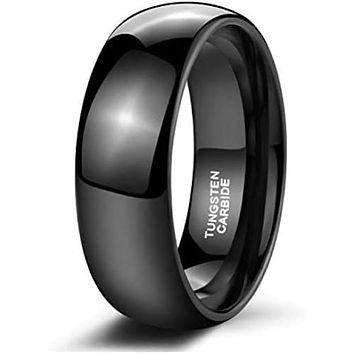 Domed Classic Black Tungsten Wedding Band with High Polish Finish 4mm - 8mm