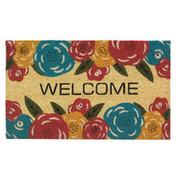 Cheery Bright Pink Yellow Blue Floral Doormat Rug Welcome Mat