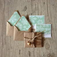 Small envelopes with cards - set of 5 tiny envelopes - christmas new year brown envelope - light blue rustic - europeanstreetteam