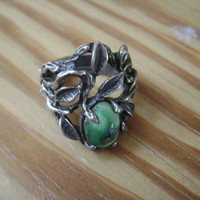 branches, leaves, green stone ring, size 5 and 1/2