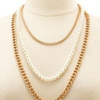 Gold Mixed Chain & Pearl Layered Necklace by Charlotte Russe