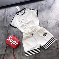 Adidas Fashion new stripe letter print short sleeve top and shorts two piece suit White