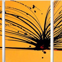 "ARTFINDER: triptych yellow and black original painting abstract  wall canvas art ""Buttercup Chaos"" 20 x 48 inches 3 other sizes available by Stuart Wright - a triptych set of 3 paintings, each 16 x 20 inc..."