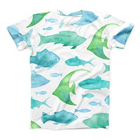 The Vivid Blue Watercolor Sea Creatures ink-Fuzed Unisex All Over Full-Printed Fitted Tee Shirt