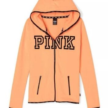 Victoria's Secret PINK printing hooded pattern and long sleeved sweater Orange