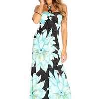 Turquoise Black Floral Beaded Halter Strap Causal Summer Maxi Dress