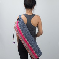 Unique Yoga Mat Bag with Hill Tribe Embroidered in Blue