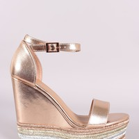 Bamboo Metallic Ankle Strap Striped Espadrille Platform Wedge