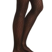 Sheer Chevron Patterned Tights by Charlotte Russe - Black